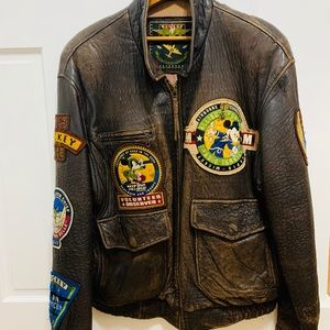 Vintage leather Mickey Mouse bomber jacket.